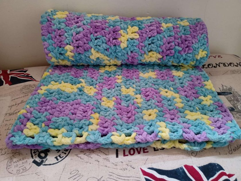 Crochet Baby Blanket - Purple/Green/Yellow Multi Colour 2