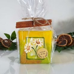DAISIES CANDLE Hand painted | Dishwasher Microwave Safe |