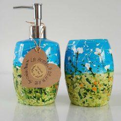 BLUE SKY SET Soap Dispenser and Tumbler Hand painted | Dishwasher Safe |