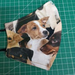 Personalised Lovely Puppy Design for these hand made cotton washable Face mask with 2 layers, ear elastic or ties in Size Small, Medium and Large.