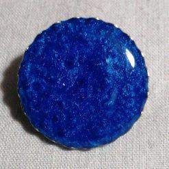 Handmade Resin Brooch, Blue, Round, 1 Inch Across