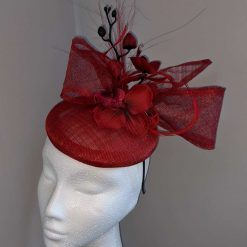 Red sinamay base fascinator with orchid on a headband , weddings and events 8