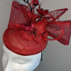 Red sinamay base fascinator with orchid on a headband , weddings and events 9