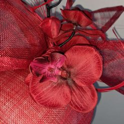 Red sinamay base fascinator with orchid on a headband , weddings and events 10