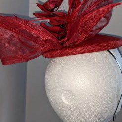 Red sinamay base fascinator with orchid on a headband , weddings and events 11