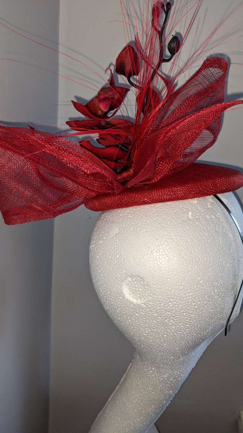 Red sinamay base fascinator with orchid on a headband , weddings and events 5