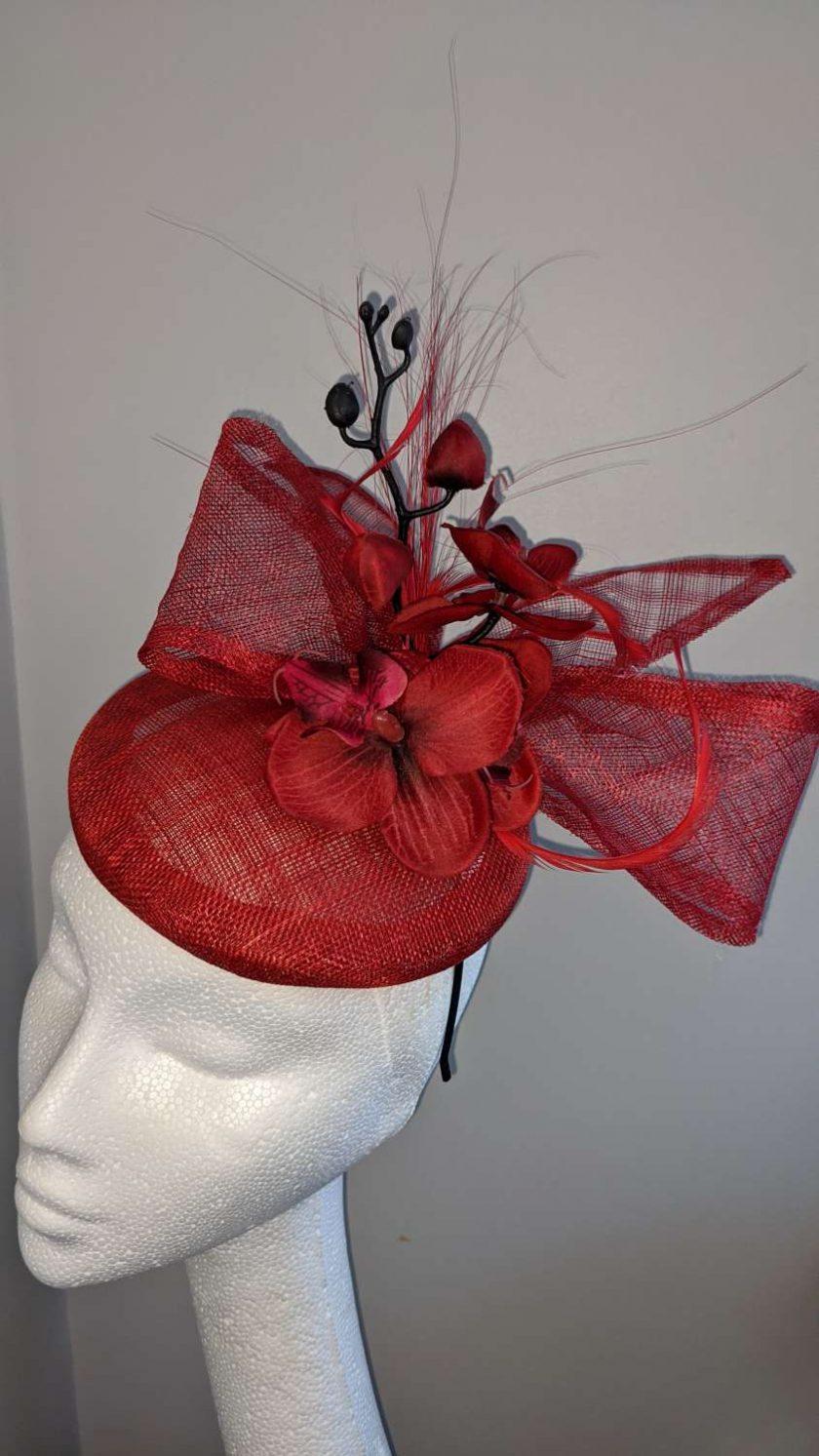 Red sinamay base fascinator with orchid on a headband , weddings and events 6