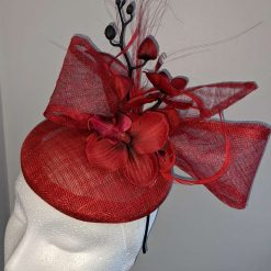 Red sinamay base fascinator with orchid on a headband , weddings and events 13