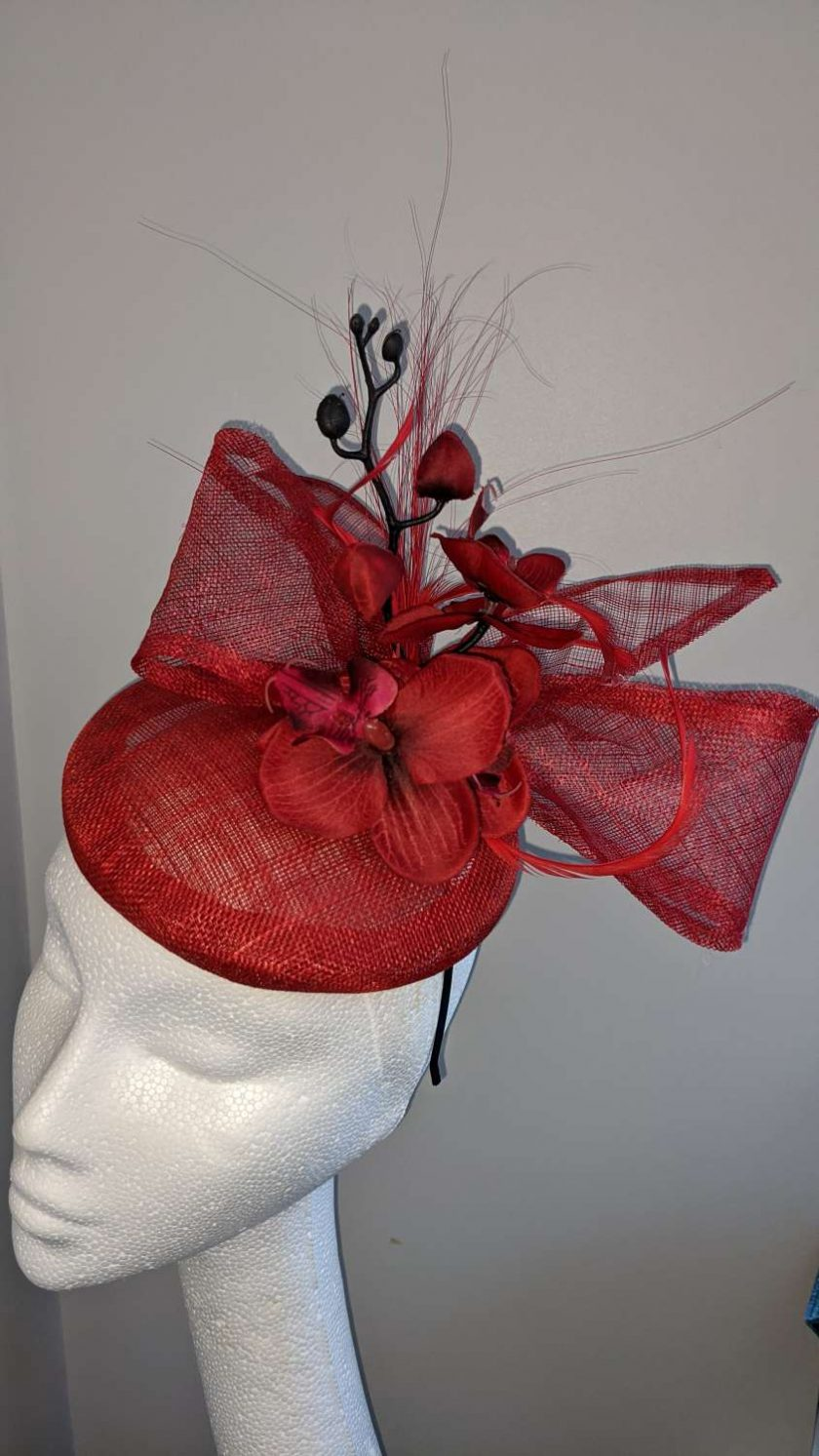 Red sinamay base fascinator with orchid on a headband , weddings and events 7