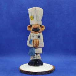 The Chef - hand carved wood carving of a cook in the kitchen