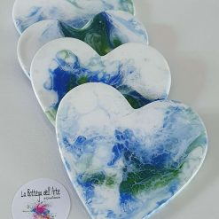 HEART COASTERS SEA DESIGN Resin finished - Hand painted | Dishwasher Safe |