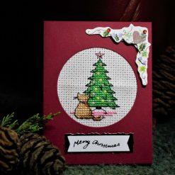 Christmas Cross stitch Cat and Tree