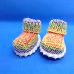 Baby Booties newborn multi colour hand knitted