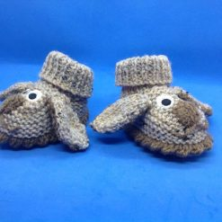 Baby booties newborn beige and brown dogs Acrylic Hand knitted