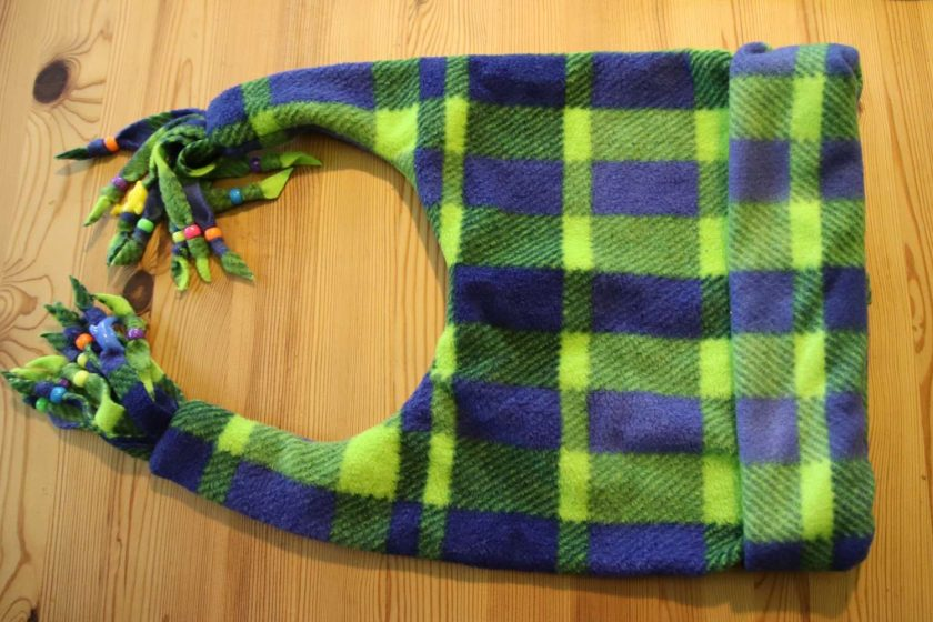 Fleece hat and scarf  Large child  adult size Green and blue print 1