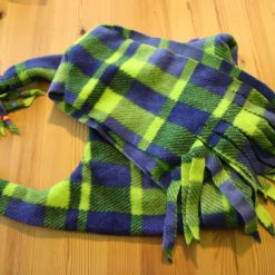 Fleece hat and scarf  Large child  adult size Green and blue print 3