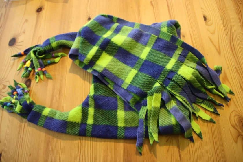Fleece hat and scarf  Large child  adult size Green and blue print 2