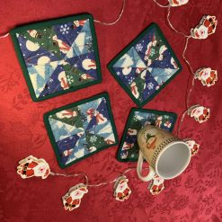"""""""Quilted, Patchwork Christmas themed 4 of set mug rug """""""