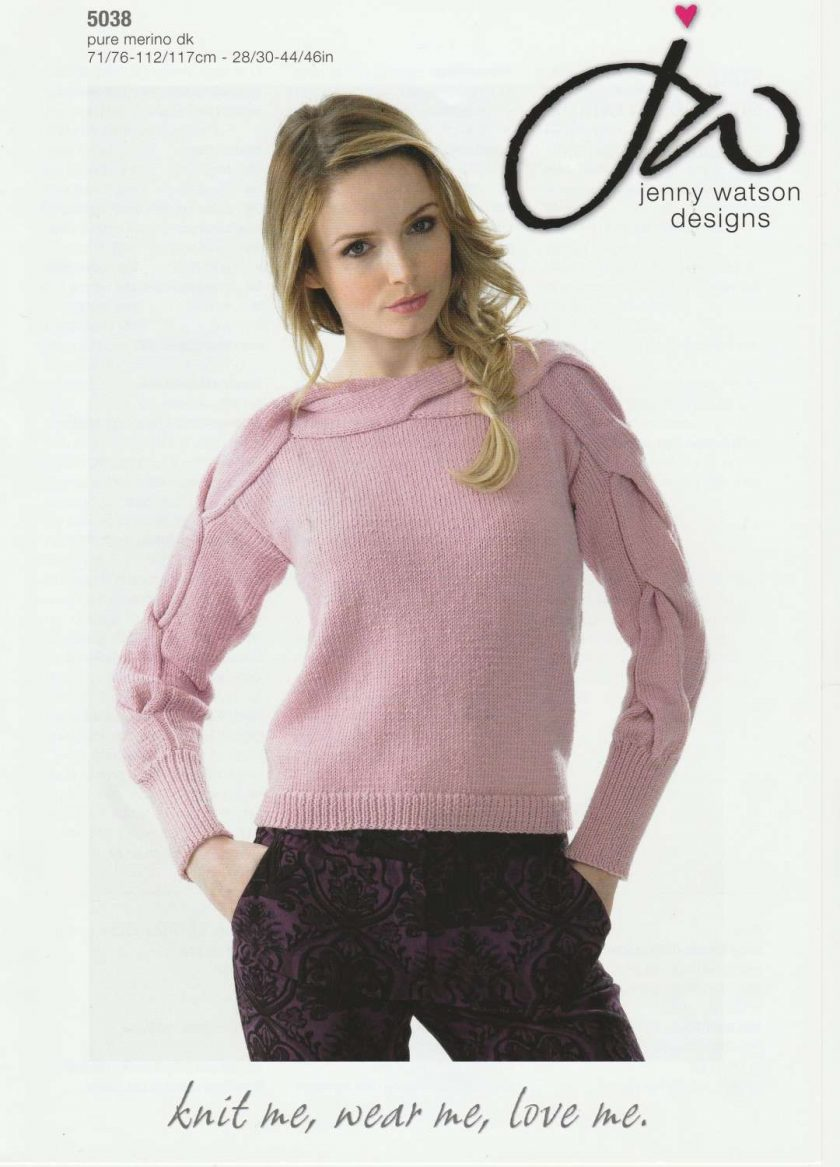 Jenny Watson - Knitting Pattern - Sweater with Cable Detail 1