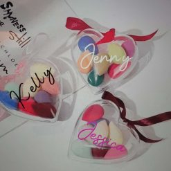 Personalised Heart Shape Bauble with 8 Makeup sponges inside