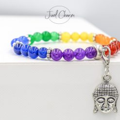 New handmade Chakra healing gemstone bracelet shown with a Buddha, Lotus flower or Hamsa charm