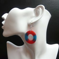 Big Red and Blue Oval Earrings