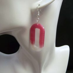 Big Pink and White Earrings