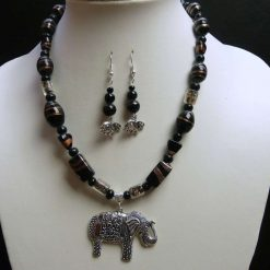 Black and Gold  Beaded Elephant Pendant and Earrings