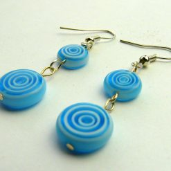 Blue and White Circles Drop Earrings