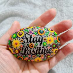 "colourful & sparkly Inspirational ""stay positive"" oval beach stone, unique gift, paperweight, ornament, pocket"