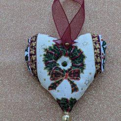 Burgundy wreath heart tree decoration