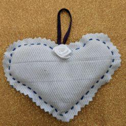 White rose heart lavender sachet