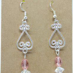 Peach And Clear Crystal Drop Earrings 3