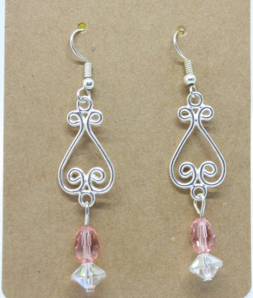 Peach And Clear Crystal Drop Earrings 2