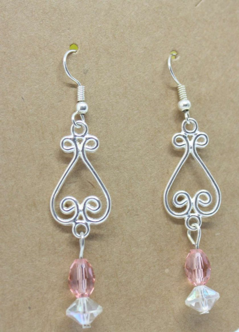 Peach And Clear Crystal Drop Earrings 1