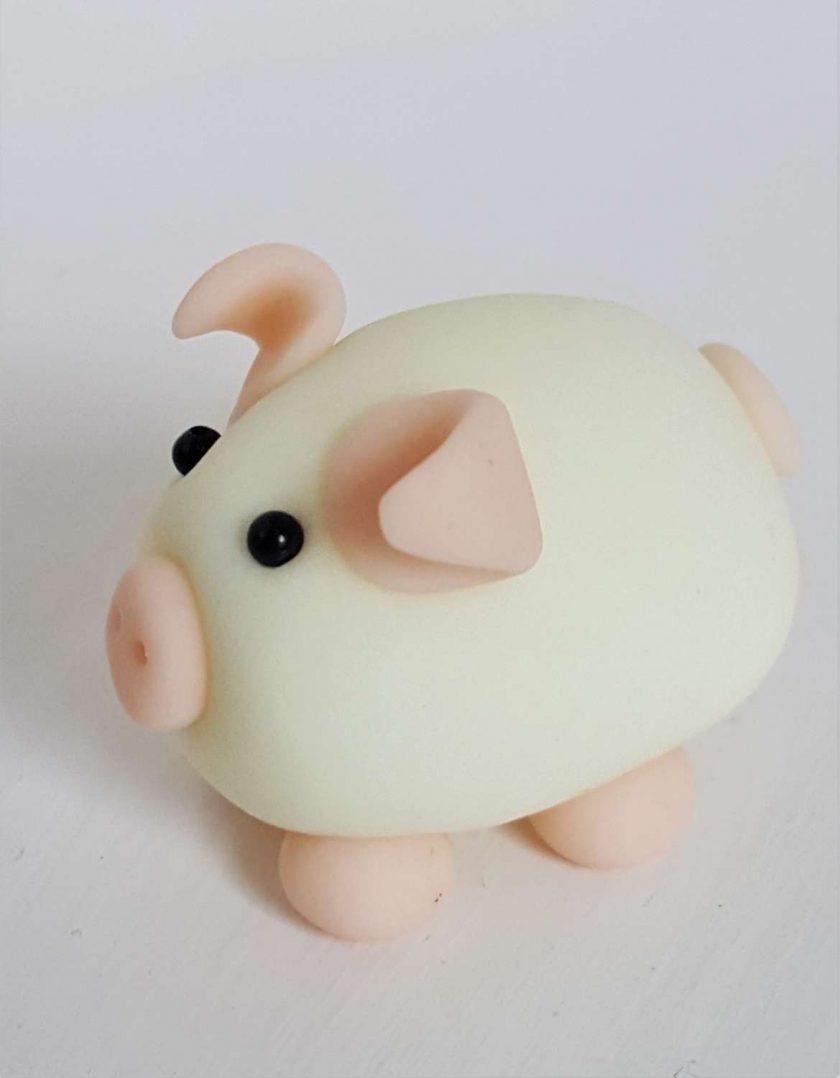 Mini pig - glow in the dark - ornament - gift - cake topper