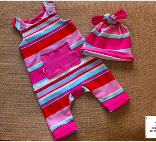 Striped Red, Blue, Pink and White Romper and Top Knot Hat. Prices shall appear once you have made your size selection. prices start from £28.00 1