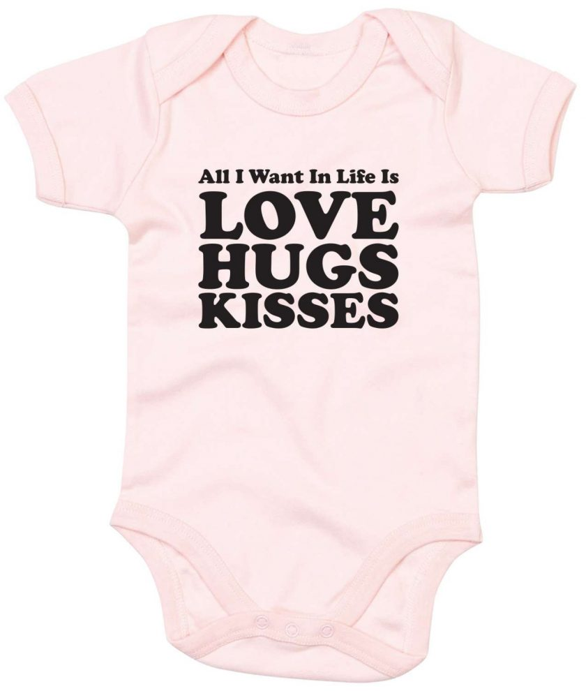 All you need is Love, Hugs and Kisses Babygrow 1