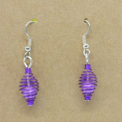 Small Purple Wire Basket Earrings 3