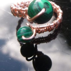 Malachite Adjustable Ring, Gift for Mum, Gift for Friend, Semi Precious Ring, Protective Ring, Green Ring 6