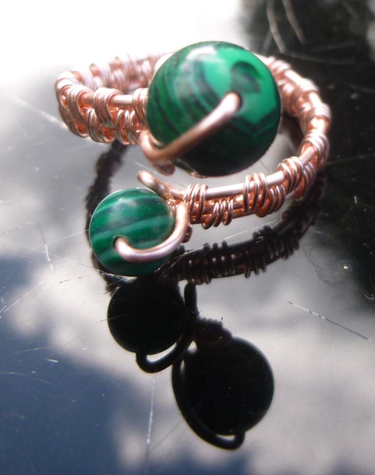 Malachite Adjustable Ring, Gift for Mum, Gift for Friend, Semi Precious Ring, Protective Ring, Green Ring 1