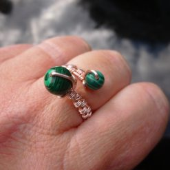 Malachite Adjustable Ring, Gift for Mum, Gift for Friend, Semi Precious Ring, Protective Ring, Green Ring 7