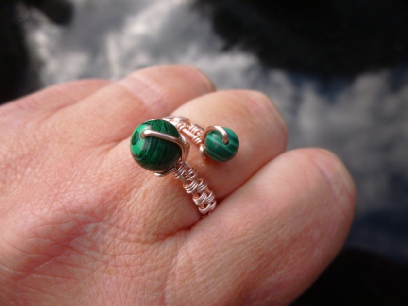 Malachite Adjustable Ring, Gift for Mum, Gift for Friend, Semi Precious Ring, Protective Ring, Green Ring 3