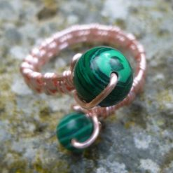 Malachite Adjustable Ring, Gift for Mum, Gift for Friend, Semi Precious Ring, Protective Ring, Green Ring 8