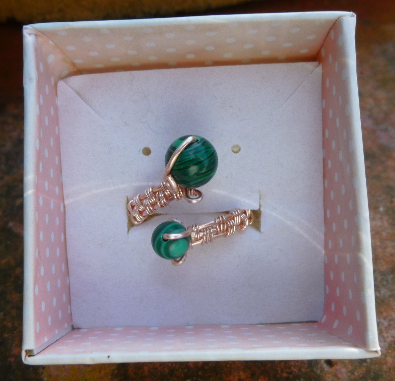 Malachite Adjustable Ring, Gift for Mum, Gift for Friend, Semi Precious Ring, Protective Ring, Green Ring 5