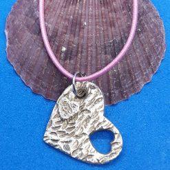Fine silver textured heart pendant