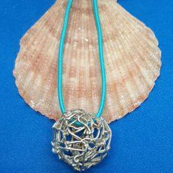 "Fine silver hollow ball ""nest"" pendant"