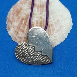 Fine silver textured broken heart pendant
