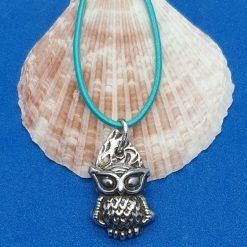 Fine silver textured owl pendant
