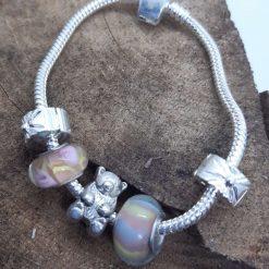 Small/child's charm bracelet with teddy bear charm